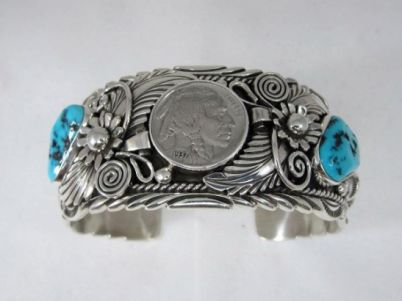 Indian Head Nickle bracelet with turquoise handmade by Navajo Henry Yazzie (2)