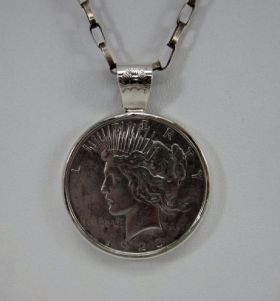 Liberty dollar pendant on handmade chain by Navajo Henry Yazzie (2)