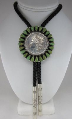 Liberty silver dollar with turquoise cluster handmade by Navajo Henry Yazzie (2)