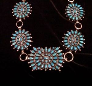 hallmark research on older concho belt with turquoise stones