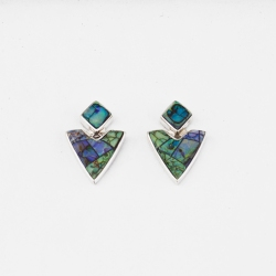 Navajo artist Calvin Begay designed earrings on a drop post with stunning lab created opal