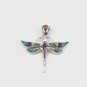 Navajo artist Calvin Begay Dragonfly Pendant in new spiderweb lab opal brilliant color